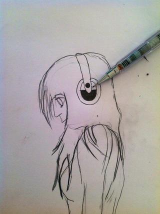 Ahora dibuja pequeños auriculares lindos y también dibujar el pelo ....