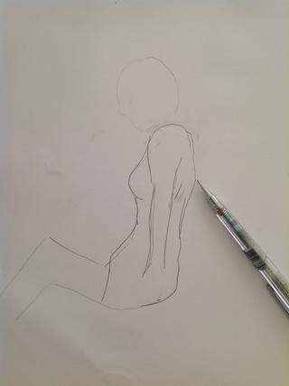Ahora dibuja la parte posterior de la chica ....