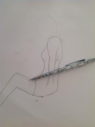 Ahora dibuja la pierna izquierda ...