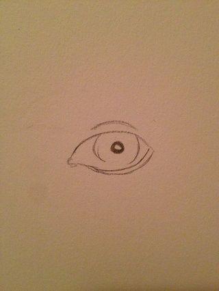 A continuación, dibuje la línea de flotación, la pupila, y el párpado. Sé que parece cobarde pero miraré bien una vez u empezar mezcla. SUGERENCIA: la pupila está siempre en el centro de la parte coloreada del ojo! ¡¡¡SIEMPRE!!!