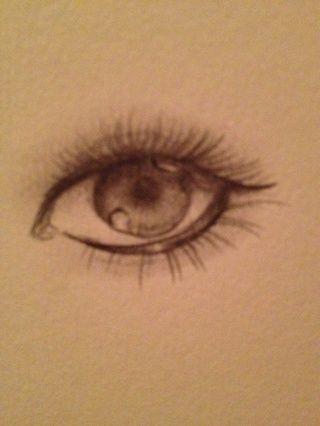 Para hacer un ojo mirando más dramático que sea más oscuro o ad pestañas más largas, etc. La parte principal de este paso es la mezcla. Tome ur meñique y mezcle suavemente la pupila, la parte superior del ojo, y los párpados. (: