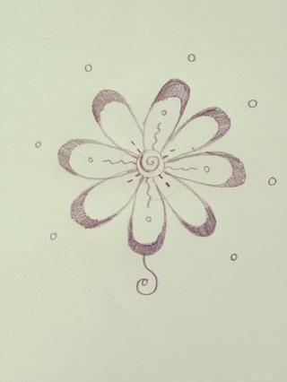 Dibuja un remolino que se inicia desde la parte inferior del punto (eso armario para el pétalo) curvas a un lado, luego hacia el interior y al pétalo, como este.