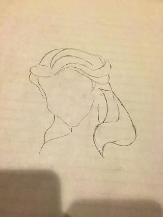 Dibuje el resto del cabello. Y el hombro