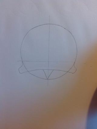 Dibujar estas curvas y un triángulo en la parte inferior del círculo.
