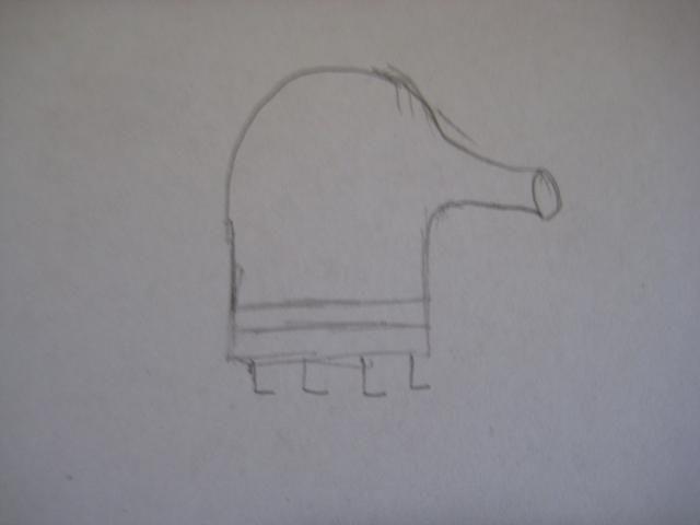 En la parte inferior, dibuja 4 patas en forma de L para que su figura Doodle Jump puede permanecer.