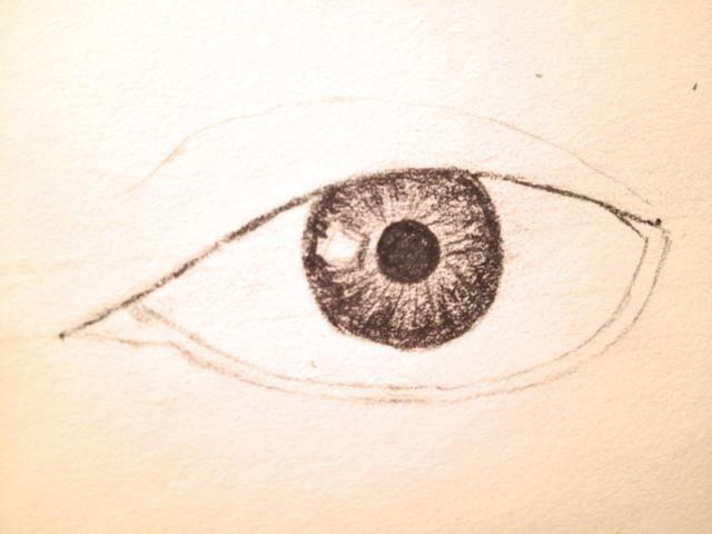 En el mismo patrón, añadir una segunda línea por encima de la parte inferior del ojo, esto formaría su línea de flotación.