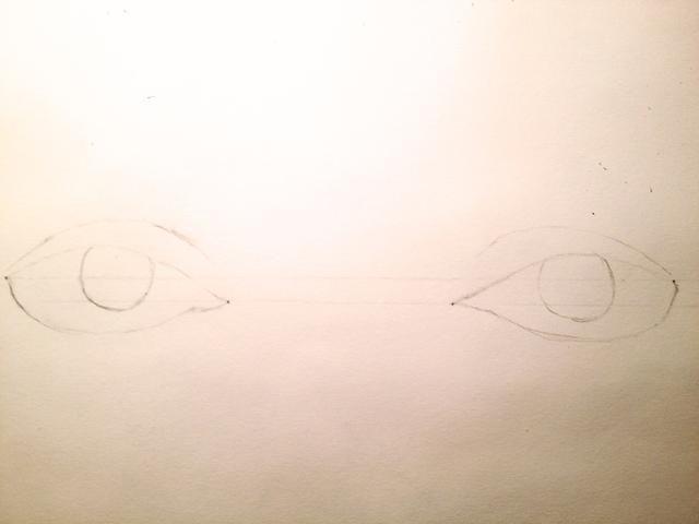 Dibuja un círculo dentro del ojo y dibuja una línea curva desde la esquina exterior hacia la esquina interna, la formación de las arrugas.