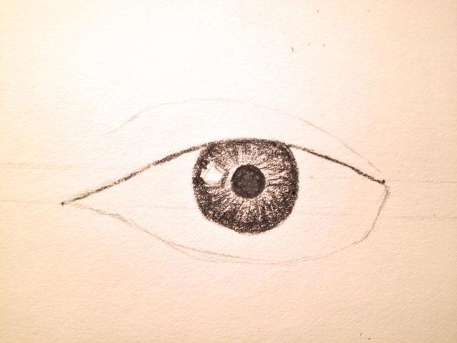 En un tono más oscuro, sombra las partes restantes con pequeñas líneas horizontales que mira hacia el iris. (Como se ha visto anteriormente)
