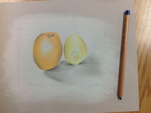 Cómo dibujar la fruta en tiza pastel
