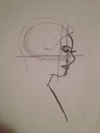 (Volver a la lápiz) trazar la línea del cabello, básicamente, que acaba de dibujar una curva donde el oído debe luego ir hasta la cabeza, por encima y alrededor del círculo y una línea semi recta en la base del cuello