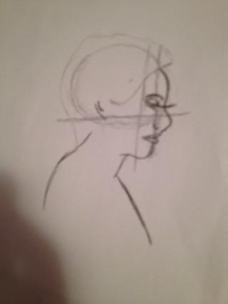 Añadir una curva como la oreja un poco lejos de la curva de pelo, a continuación, hacer una curva para el cuello