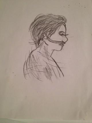 Dibuje su tubo de respiración en la base de la nariz y hacia arriba y alrededor de sus oídos