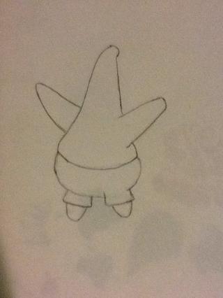 Dibujar las piernas. Lo que puede ayudarle es si comienza dibujando triángulos luego borrar los fondos y la curva a retirarse.