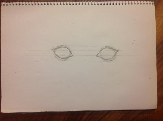 Dibujar a los círculos, que son el globo ocular. Nuestro globo ocular es siempre más grande que el ojo que vemos. Sobre ellos, dibujar la forma del ojo. La forma de nuestro ojo será límite con los párpados.