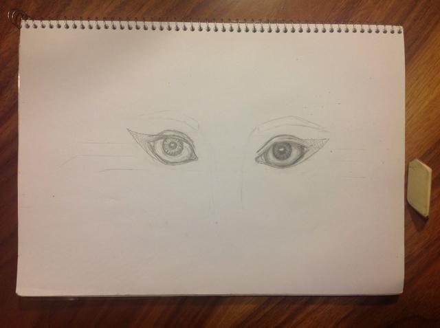 Diseñar las cejas. Siguiendo sus bocetos de la luz / sombra en el globo ocular, empiece a marcar con lápiz y borrar las líneas con los dedos. Haga lo mismo con el alumno.