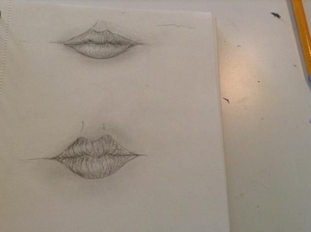 yo'd recommend drawing different shapes of lips over and over again, to get used to it:)