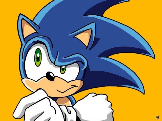 Hago un fondo y lo coloca en la parte inferior. Un color amarillo dorado hace de Sonic realmente se destacan. Colores que trabajan juntos para hacer una pieza más fuerte. Firmo mi nombre, y yo salvaré'm done.
