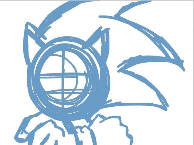 Comience en la capa uno con un esbozo en azul. Comience considerando la anatomía. Sí, personajes de dibujos animados tienen su propia anatomía especial. Eso's how it looks like Sonic.