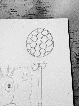 Dibuja hexágonos entrelazados. (Hacerlos más grandes que las que hice, me'm not very good at this bit!)