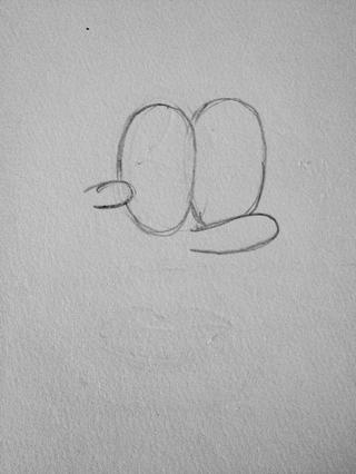 Dibujar la mejilla en frente del ojo izquierdo.