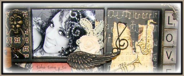 En algunas de las fotos que filo con mi herramienta de angustia para darle ese aspecto desgarrado vintage. Añadir pañito de encaje, el bling y flores.