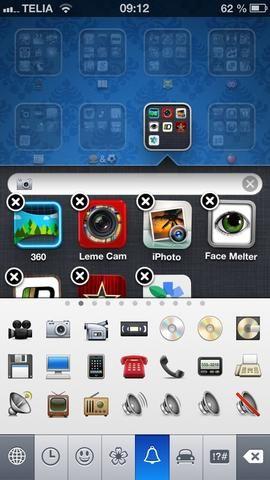 Ahora toque el Nombrecarpeta con el fin de cambiar su nombre. Elija el teclado Emoji y asignar un icono que representa la carpeta.