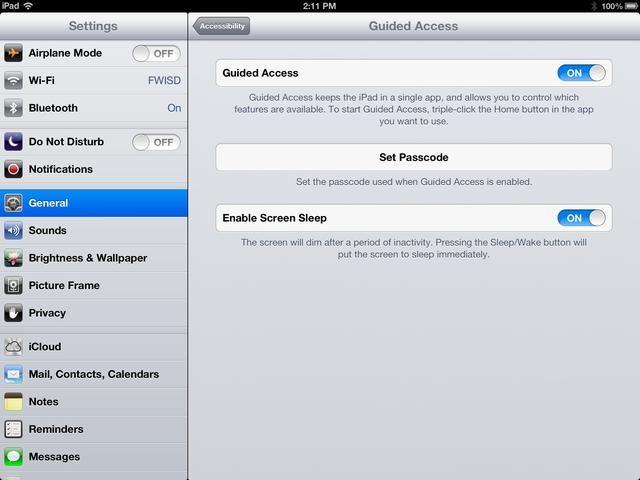 Acceso Guiado mantiene el iPad en una sola aplicación y te permite controlar qué funciones están disponibles. Establecer un código de acceso.