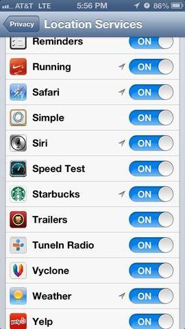 A continuación, apague todas las aplicaciones que don't need to know your location, and then scroll down to the bottom and continue into