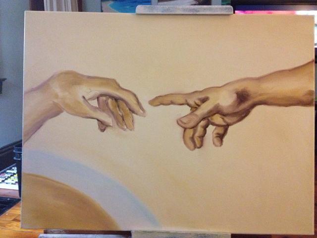 Una última capa de sombra sobre toda la mano de Dios y un clavo en su pulgar.