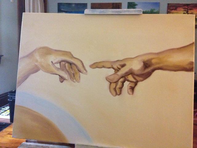 Por último, añadir un poco de tonos medios umber y retocar el fondo alrededor de donde usted ha trabajado. El Señor's Hand is done.