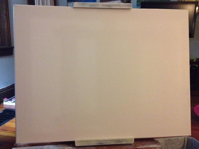 Humedezca su lienzo con una capa fina de color gris líquido por lo que todos los colores se mezclan. Luego de trabajar en su color de fondo de una mezcla de blanco y ocre.