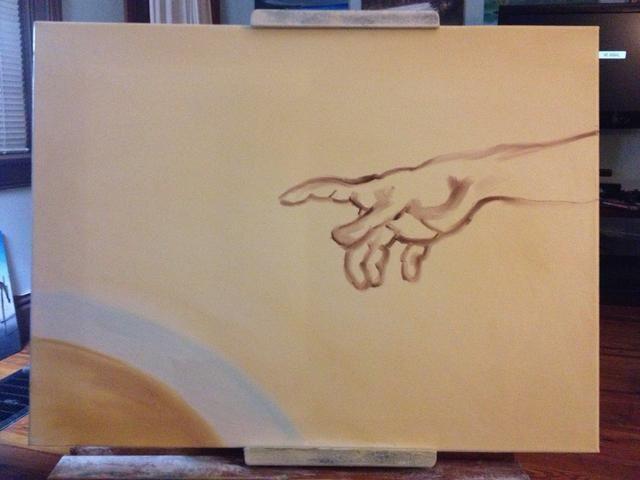 En la parte inferior izquierda agregar una mezcla de azul y blanco y un ocre recta. Luego tomar un meñique y algunos Sienna y empezar a dibujar a Dios's hand. Remember how the artist focuses on each muscle.