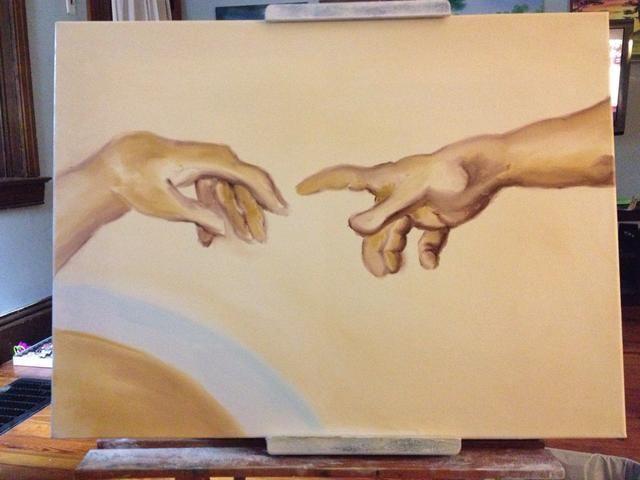 Ok, ahora a trabajar detalladamente en la Mano de Dios. Comience con su dedo meñique, el Señor's pinky, and some sienna.