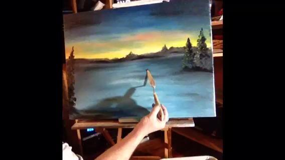 El árbol de primer plano es negro y liso, ya que se encuentra frente a la puesta de sol. A continuación, apoderarse de su cuchillo y pintar su equipo de trineo. Un musher más 8 pares de dos perros iguales a 9 gotas.