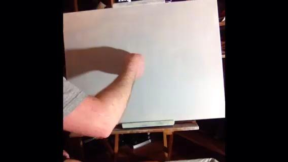 Utilice el pulgar para fregar de alguna amarillo dorado por el lienzo para marcar su línea del horizonte.