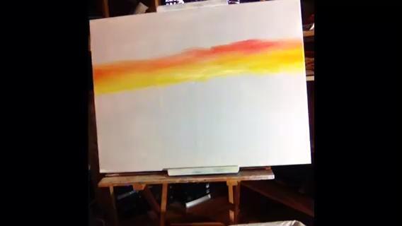 Mezclar un poco de azul y blanco juntos y añadir por encima de sus colores brillantes. Observe cómo la ligera mis dedos se deslizan por el lienzo.