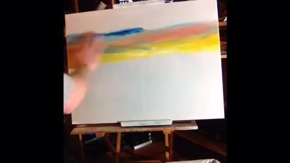 Haga lo mismo con la recta azul de Prusia a la parte superior del lienzo.