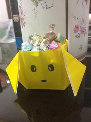 Llené mi caja con estrellas de origami, puede llenarlos con caramelos o lo que quieras! :)