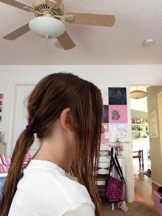 Tomar dos pequeñas secciones de cabello y poner uno encima de su hombro izquierdo y uno sobre su derecha. Pon el resto en una cola de caballo.