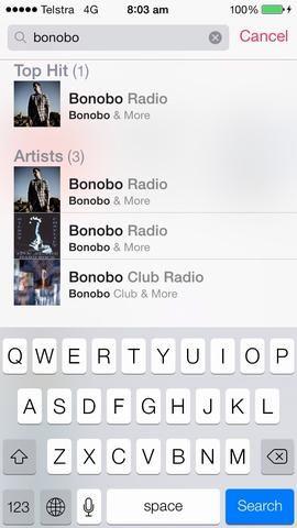 Aquí he escrito en el artista Bonobo. Pulse sobre el artista y se creará la estación.