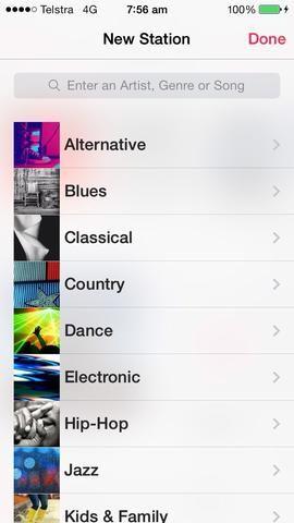 Después de tocar el botón Agregar, aparecerá esta selección. Como la ventana de búsqueda sugiere. Escriba artista, género o canción