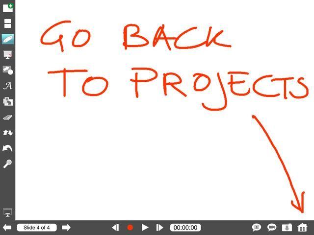 Explique Todo se abrirá en la última vista utilizada. Toque en el icono Inicio para ir a la descripción general del proyecto.