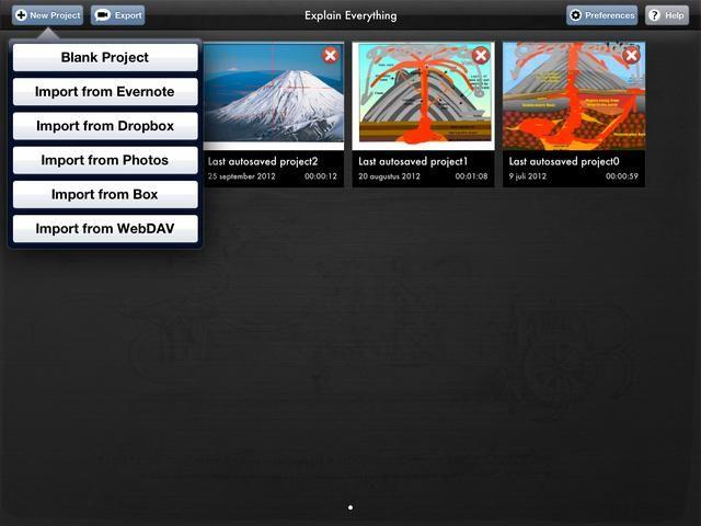 Pulse el botón Nuevo proyecto. Puede seleccionar el tipo de proyecto que desea crear desde el menú desplegable.