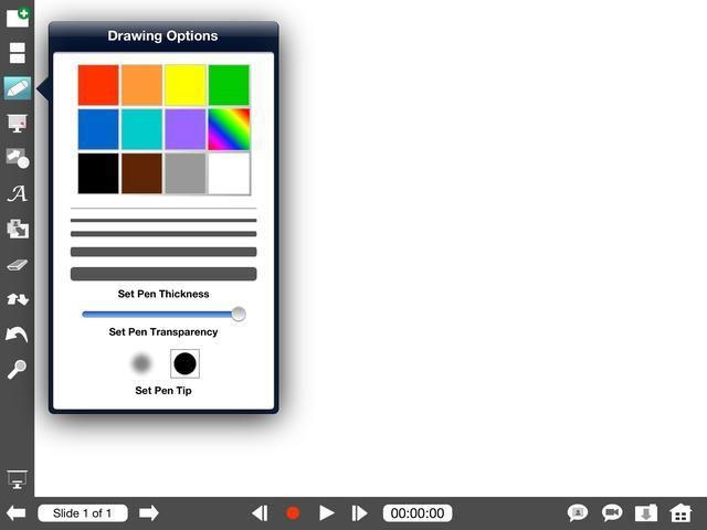 Puedes seleccionar una herramienta tocando una vez. El icono se iluminará. Toque y mantenga presionado un icono para ver las opciones avanzadas y la configuración de la herramienta. Estas son las opciones de pluma.