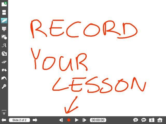 Para grabar cualquier interacción en el lienzo y grabación y audio (que explicar todo) toque el botón rojo de grabación y entregar su lección.
