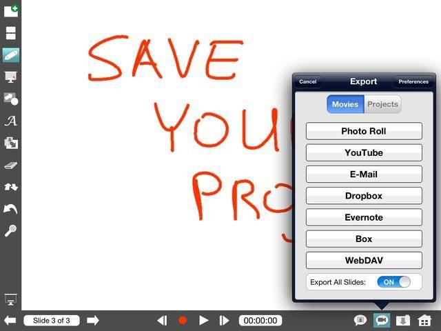 Para guardar el proyecto o la lección terminado como un vídeo pulse el icono con la cámara. Para guardarlo como un PDF o conjunto de imagen, toque el icono con la imagen.