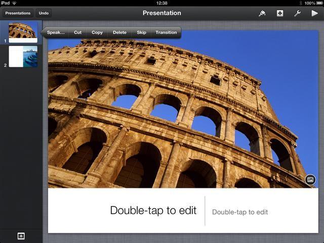 Para agregar transiciones aprovechar una diapositiva una vez para seleccionarlo. Toque de nuevo y aparecerá un menú. Seleccione Transiciones desde el extremo derecho del menú.
