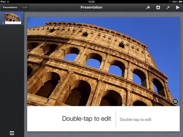 Keynote crea una diapositiva de título para usted. Ahora está listo para comenzar la construcción de su presentación.
