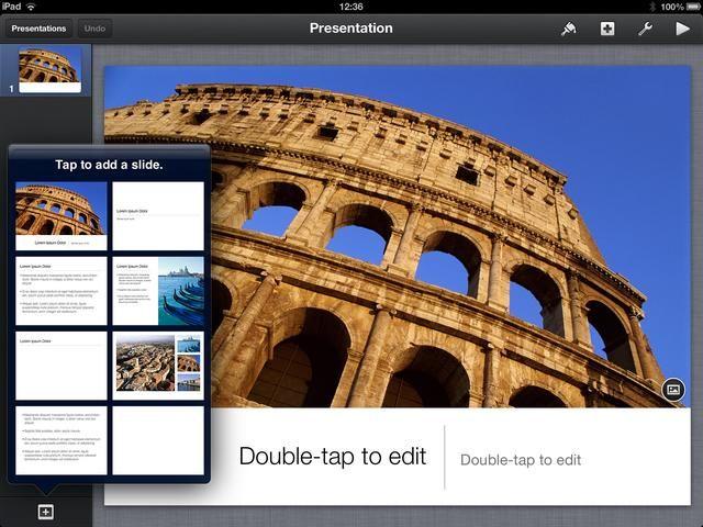 Para añadir un toque de diapositivas en el signo + en la parte inferior izquierda y un menú emergente aparecerá. Seleccione el tipo de diapositiva que desea agregar. Repita este paso para todas las diapositivas que desea agregar.