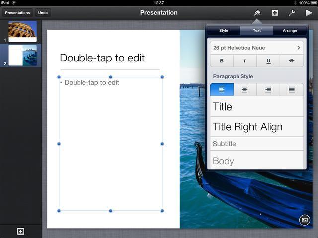 Para editar elementos en la diapositiva pulse una vez. Aparecerán manejadores de selección. Si toca el icono de pincel en la barra de menú de un menú contextual desplegable. En este ejemplo hemos seleccionado un cuadro de texto.